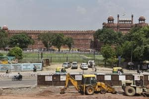 Metro contruction near Red Fort in Old Delhi.