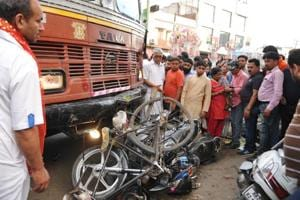 The truck that rammed into vehicles after running over people during a Ram Navami procession in the Jyoti Chowk area in Jalandhar on Tuesday, April 4.