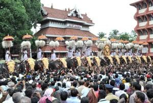 People gathered in front of Parmekkavu Temple as part of the famous Thrissur Pooram festival in Thrissur, Kerala.