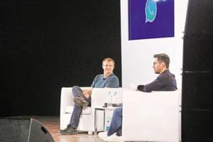 WhatsApp co-founder Brian Acton (left) and Neeraj Arora, head of business, WhatsApp at IIT Delhi, in February.
