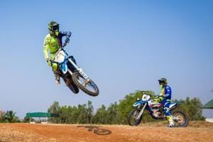 """TVSRacing riders train for the 2017 India Baja Dakar Challenge rally at the team's test track in Anekal, near Bengaluru. The team would be hoping their riders -- Indians R Nataraj, KP Aravind, Abdul Wahid Tanveer and France's Adrien Metge corner the glory at the Baja to be held around Jaisalmer, Rajasthan, from April 7-9. However, Portugal's Joaquim Rodrigues a.k.a """"J-Rod"""", who leads the Hero Motosports Team's challenge in the absence of the injured CS Santosh, will have other ideas."""