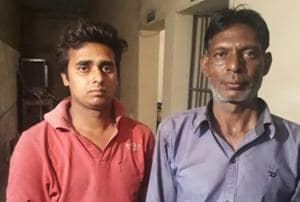 Truck driver Gurmeet Singh (right) and Amit Kumar, who was allegedly behind the wheel when the mishap took place during procession in Jalandhar.