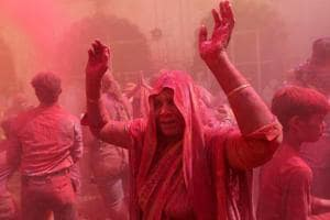 Widows take part in Holi celebrations, Vrindavan, March 9, 2017. (Representative photo)