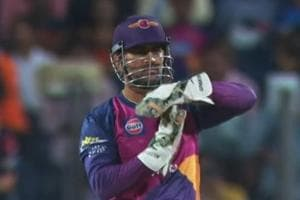 Rising Pune Supergiants' MS Dhoni seemed surprised when umpire S Ravi turned down an lbw appeal on Mumbai Indians' from an Imran Tahir delivery during their IPL 2017 match on Thursday.