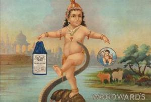 In the 1930s, Mahadev Dhurandhar's paintings of child Krishna appeared on Woodward's Gripe Water calendars. Dhurandhar trained at the JJ School of Art and illustrated mythological themes and wedding rituals among his Pathare Prabhu caste. Elite Maharashtrians loved him.