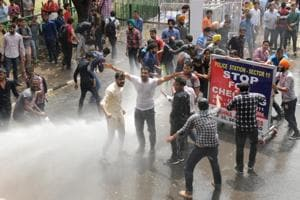 Video: Protesters gatecrash V-C office, student bodies call for 'bandh' in Panjab University