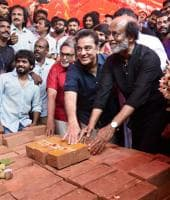 Tamil Super Stars Rajinikanth and Kamal Hassan during foundation stone laying ceremony of South Indian Film Artistes