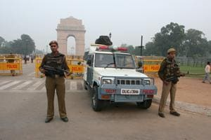 Delhi Police commando deployed at Rajpath in India Gate New Delhi on Tuesday.Photograph:
