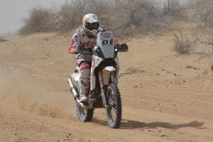 Hero Motosport's Joaquim Rodrigues during the first day of the India Baja in Jaisalmer on Saturday.