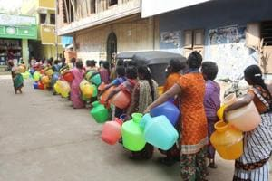 People queueing up for drinking water is an everyday affair in RK Nagar, even as bypolls has seen a massive free flow of cash to lure voters.