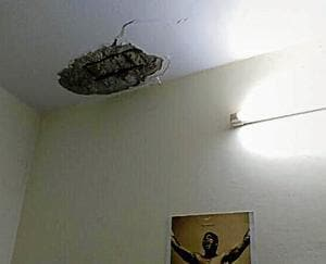 A final-year student of Delhi University's Hans Raj College had a narrow escape on Saturday night as the plaster on his hostel room ceiling fell on his bed.