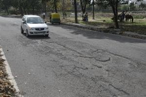A damaged road inSector 68 in SASNagar.