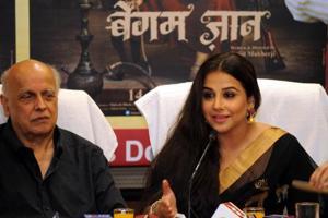 "Actress Vidya Balan, Director and Producer - Mahesh Bhatt addressing media for the promotion of film ""Begum Jaan"" in Ranchi,  on Saturday"