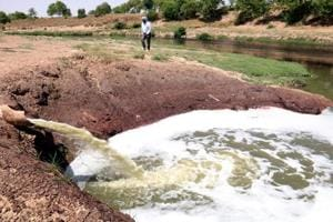 Untreated sewage flowing into the Ghaggar on the outskirts of Sardulgarh town in Mansa district.