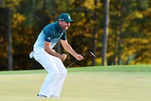 Sergio Garcia of Spain celebrates after defeating Justin Rose (not pictured) of England on the first playoff hole during the final round of the 2017 Masters Tournament at Augusta National Golf Club on April 9, 2017.