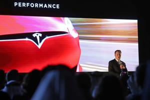 Elon Musk, the co-founder and chief executive of electric carmaker Tesla, speaking during a ceremony in Dubai.
