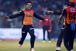 Sunrisers Hyderabad cricketer Rashid Khan celebrates a wicket during