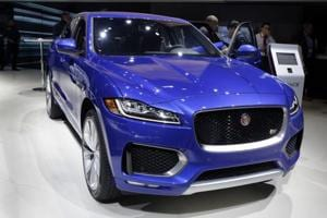 The 2018 Jaguar F-Pace is shown during a media preview at the New York International Auto Show, at the Jacob Javits Center in New York on Wednesday.