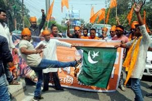 Bajrang Dal activists in Guwahati on Thursday protest against the death sentence awarded to the former Indian Naval officer Kulbhushan Jadhav by a Pakistani court.
