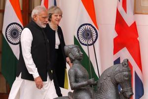 Prime Minister Narendra Modi with his British counterpart Theresa May, Hyderabad House, New Delhi, November 7, 2016