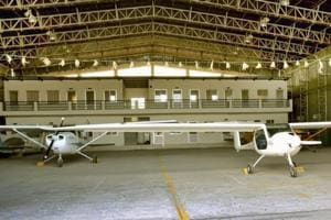 A hanger at the Rajasthan State Flying School, which has been non-operational since 2008.