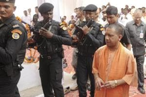 UPchief minister Yogi Adityanath arrives to pay tribute to Dr Baba Saheb Ambedkar on his 126 the birth anniversary at Ambedkar Mahasabha in Lucknow, on  April 14, 2017.