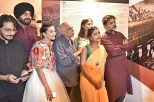 Minister Navjot Singh Sidhu with producer Mahesh Bhatt, director Srijit Mukherji, and actor Gauhar Khan and others from the film's team at Partition Museum, Amritsar, on Friday, April 14.