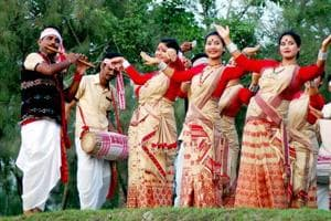 Song and dance is an integral part of Rongali Bihu celebrations in Assam.