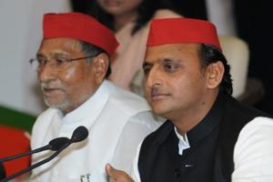 Samajwadi Party national president Akhilesh Yadav addressing a  press conference at the party office in Lucknow on Saturday.