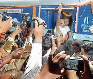 A man fashioned as Mahatma Gandhi on his arrival at the Bapudham railway station in Motihari on Saturday.