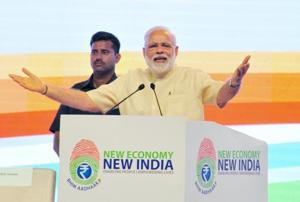Prime Minister Narendra Modi addresses a NITI Aayog function in Nagpur, Maharashtra.