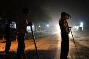 File photograph of  volunteers of  a gau raksha dal  on patrol in Rajasthan.