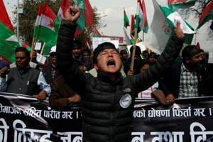 Activists take part in a rally to support ethnic Madhesis during a demonstartion in Kathmandu, Nepal on March 9, 2017.