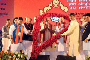 PM Narendra Modi with BJP president Amit Shah at the party