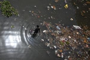 The bank of the polluted Yamuna River, on the outskirts of New Delhi.