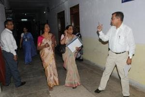 The National Assessment and Accreditation Council (NAAC) team of university Grant Commission(UGC) visits Ranchi University campus in Ranchi on Monday