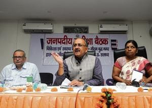 UP health minister Sidharth Nath Singh  addresses mediapersons at the Indian Medical Association at Sector 30 , Noida, on Monday,