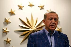 Turkish President Recep Tayyip Erdogan during a news conference in Istanbul, April 16.  Erdogan is no longer the colossus he once was on the West Asian stage. Turkey's pretensions of having a major role in the affairs of Arab states have been embarrassingly exposed by its inability to exert much influence on the Arab state on its border.