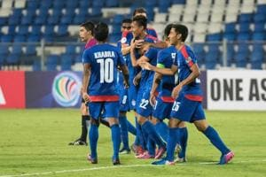 Bengaluru FC players celebrate after scoring a goal against Abahani Limited Dhaka in an AFC Cup match.