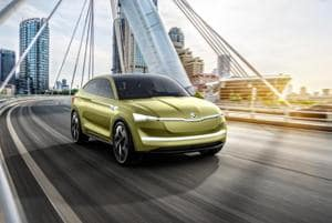 The Škoda Vision E is an all-wheel drive crossover powered by two electric motors, with a total power output of 225 kW.