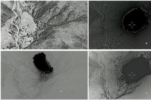 """A combination of still images taken from a video released by the US Department of Defence on April 14, 2017 shows (clockwise) the explosion of a MOAB, or """"mother of all bombs"""", when it struck the Achin district of the eastern province of Nangarhar, Afghanistan."""