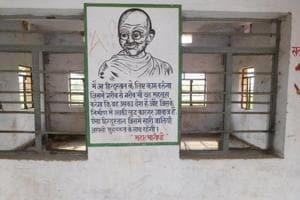 Classrooms sans glass panes in windows at the Rajkiya Buniyadi Kanya Vidyalaya, Brindavan in Bettiah, one of the basic schools established by Mahatma Gandhi.