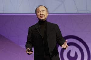 Masayoshi Son, president and chief executive officer of Softbank, delivers his keynote speech at Mobile World Congress in Barcelona, Spain.