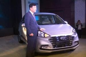 Hyundai India CEO YK Koo launches the all new Xcent in New Delhi on Thursday.