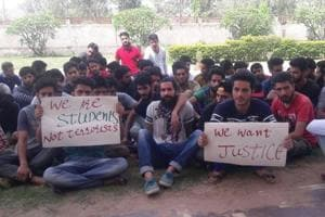Kashmiri students Chittorgarh's Mewar University protest attacks on them for being 'stone-pelters'.
