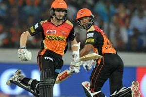 Sunrisers Hyderabad batsmen Kane Williamson (L) and Shikhar Dhawan run between the wickets during the 2017 Indian Premier League Twenty20 match vs Delhi Daredevils at the Rajiv Gandhi International Stadium in Hyderabad on Wednesday.