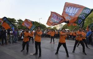 Young volunteers perform a Flash Mob dance campaign for BJP for the upcoming MCD election.
