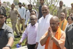 Uttar Pradesh chief minister Yogi AdityaNath inspects Gomti riverfront in Lucknow.