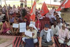 A sit-in demanding justice for dairy farmer Pehlu Khan who was killed allegedly by cow vigilantes.