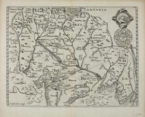 East India Conteyning th'Empire of the great Mogoll from Samuel Purchas' Purchas, His Pilgrims, 1625. Sir Thomas Roe, a diplomat, spent four years in northern India. On his way back he met William Baffin, known for his explorations in Canada. They drew a map of north India. Roe had heard that the Ganges issues out of the  mouth of a cow. So in Haridwar he drew a lake and a cow's head and the Ganges coming out of that.